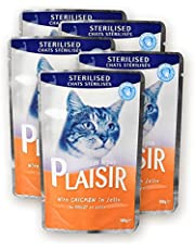 Plaisir Cat Food Chunks With Chicken & Liver 100 GM For Adult Cats (5 Pieces)