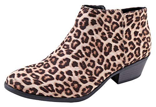 SODA Women's Closed Toe Ankle Bootie Oatmeal Cheetah 7 M US (Pine Booties)