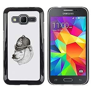 TECHCASE**Cubierta de la caja de protección la piel dura para el ** Samsung Galaxy Core Prime SM-G360 ** Polar Bear Drawing Pencil White Black Police