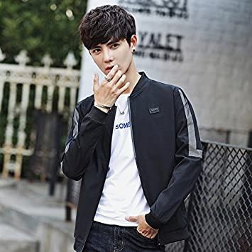 Collar de hombres chaqueta hombre de sección delgada de moda coreana de béisbol juvenil de Otoño de ropa casual de negocios abrigo delgado, negro, ...
