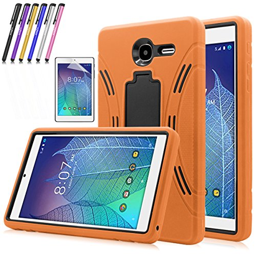 Windrew Heavy Duty rugged impact Hybrid Case with Build In Kickstand Protective Case For Alcatel Onetouch POP 7 LTE (T-Mobile 2016 Model 9015W) + Screen Protector Film and stylus pen (Orange)