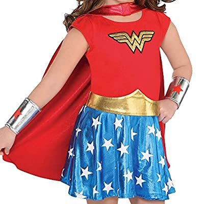 Costumes USA Wonder Woman Costume for Toddler Girls, Size 3-4T, Includes Dress, Cape, Headband, Gauntlets, and More: Clothing