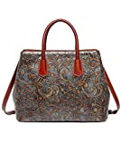 Jair Bronze Floral Embossed Genuine Leather Crossbody Tote Bags Handbags for Women
