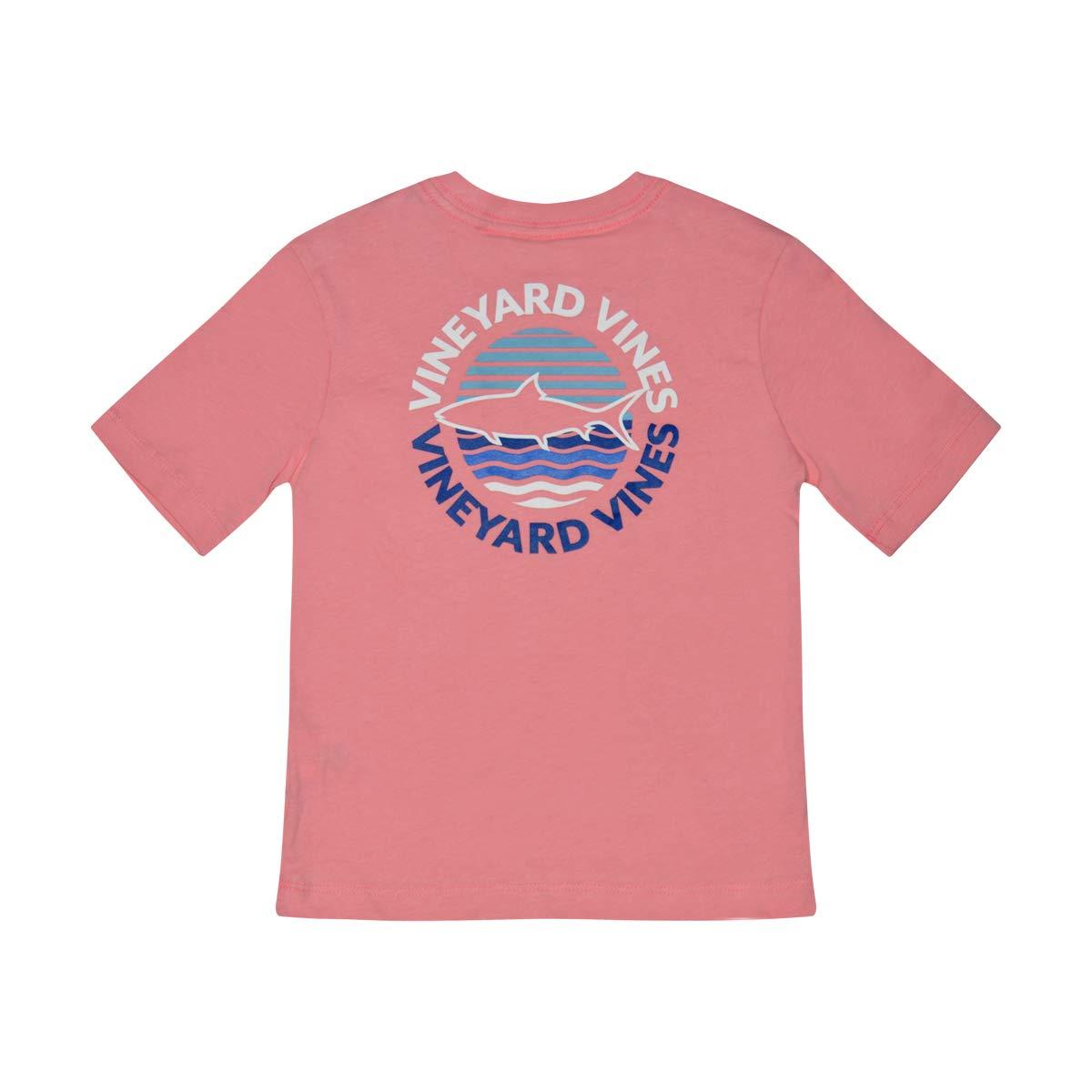 Vineyard Vines Boys Short Sleeve Graphic Pocket T-Shirt (Small, Strawberry Blonde Sunset Dot)