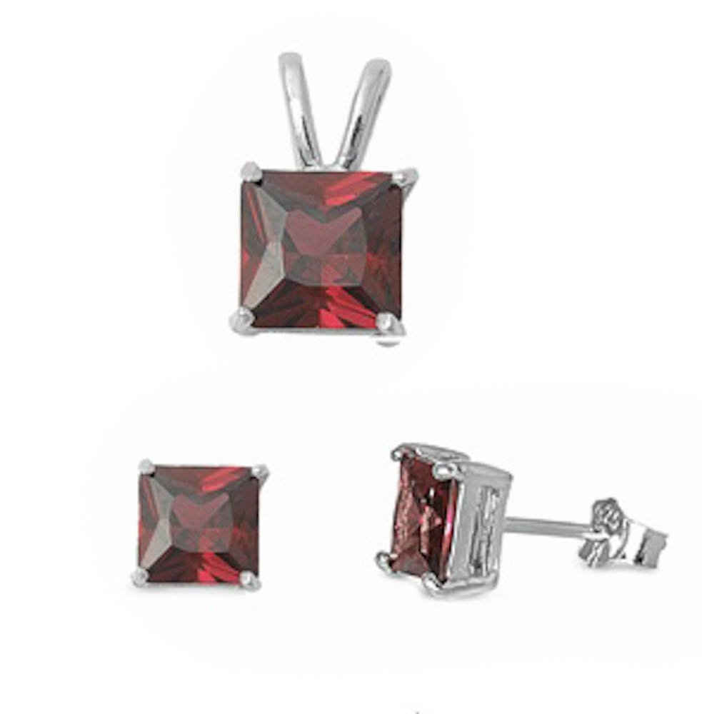 Princess Cut Simulated Gemstone Pendant & Earring .925 Sterling Silver Solitaire Set (Simulated Garnet)