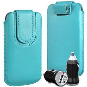 N4U Online Premium PU tirón del cuero del tirón del caso Tab cubierta de bolsa con correa de cierre magnético y cargador de coche USB para LG Optimus P760 L9 - Azul Bebé