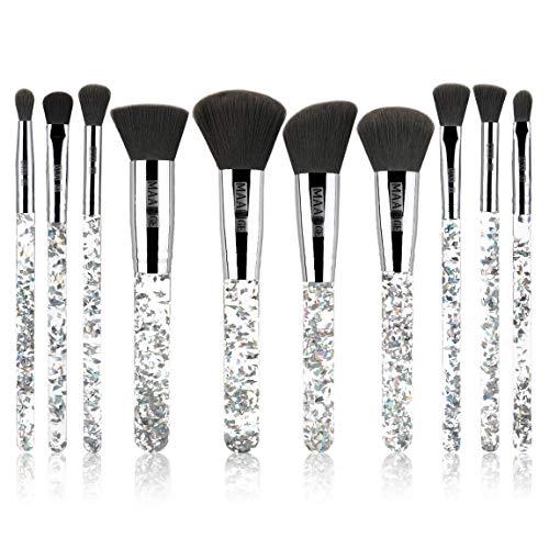 MAANGE Makeup Brushes Set 10pcs Cosmetic Brushes Shiny Crystal Quicksand Glitter Acrylic Handle Nylon Hair Makeup Tool Brush Set Eyeshadow Blush Brush