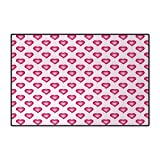 Pale Pink,Bath Mat,Cute Heart Figures with Ombre Inspired Effect Cartoon Style Romance Love,Floor Mat Pattern,Magenta Pale Pink 32''x48''