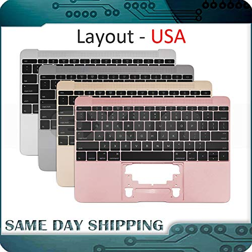 - ShineBear Gold/Gray Grey/Silver/Rose Gold Color for MacBook 12'' A1534 US English USA Topcase Palm Rest w/Keyboard 2015 2016 2017 - (Cable Length: 2016-17, Color: Rose Gold)