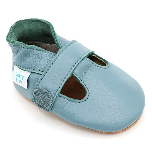 Dotty Fish Soft Leather Baby Shoes. Soft Blue T-Bar Shoes for Boys. 18-24 Months by Dotty Fish