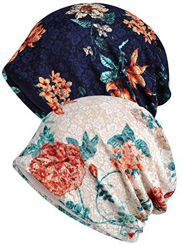 Qunson Women's Lace Baggy Slouchy Beanie Chemo Hat Cap Headwear (2 Pack-Y)