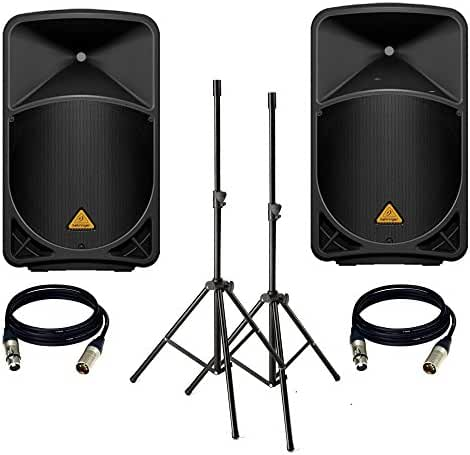 BEHRINGER EUROLIVE B115D (PAIR) With Speaker Stand + 2 XLR Cables.