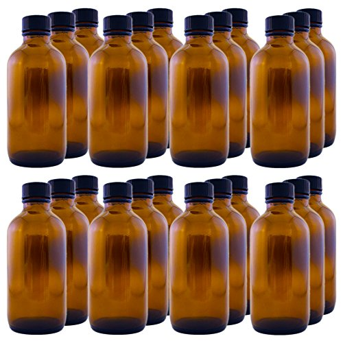 GreenHealth - Boston Round Bottle, Amber Glass, 4oz(case of 24) with Black Phenolic Poly-seal Lined Screw ()