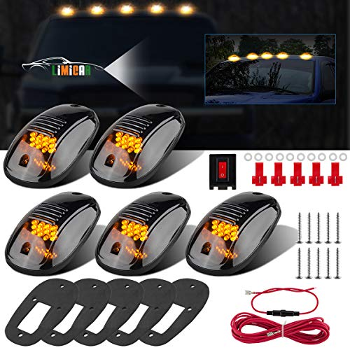 LIMICAR 5PCS Amber Smoked Lens Amber LED Cab Roof Top Marker Lamp Running Light Kit w/Wiring Pack for 2003-2010 Dodge Ram 1500 2011-2016 Ram 1500 2500 3500 4500 5500 Pickup Trucks