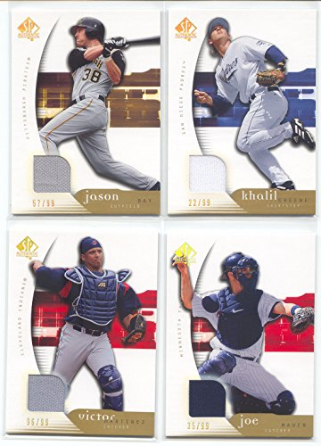 (2005 SP Authentic Jersey Gold #96 Victor Martinez Jersey Game-Used Memorabilia Card Serial)
