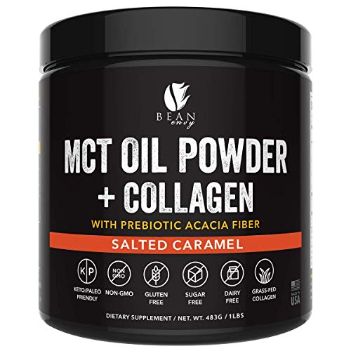 MCT Oil Powder + Collagen + Prebiotic Acacia Fiber - 100% Pure MCTs - Perfect for Keto - Energy Boost - Appetite Control - Healthy Gut Support - Salted Caramel