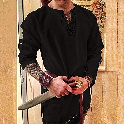 MSSJ Kinight Cosplay Traje Medieval Túnica Disfraces de Halloween para Hombres Disfraz de Pirata Vikingo Adulto Ropa de fantasía Camisas de Carnaval XXL Color 3: Amazon.es: Hogar