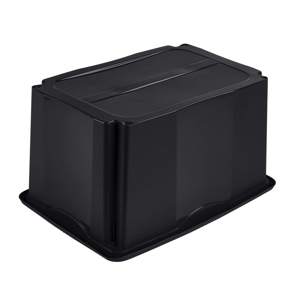 Negro Emil keeeper Caja de Almacenaje con Sistema de Apilado 54,5 x 39 x 29,5 cm 45 l