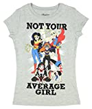 DC Super Hero Girls Not Your Average Girl Heather Gray Tee Shirt (Girl Sizes 4-16) (Medium 7/8)
