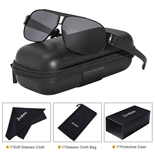 Zealme Polarized Aviator Sports Lightweight Durable Unbreakable Frame Anti Glare Baseball Cycling Fishing Golf Running Bicycle Polaroid Hiking Sunglasses (Black) - Wide Temple Glasses