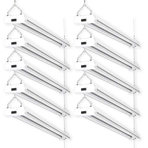 Sunco Lighting 10 Pack LED Utility Shop Light, 4 FT, Linkable Integrated Fixture, 40W=260W, 5000K Daylight, 4500 LM, Clear Lens, Surface/Suspension Mount, Pull Chain, Garage – ETL, Energy Star ()