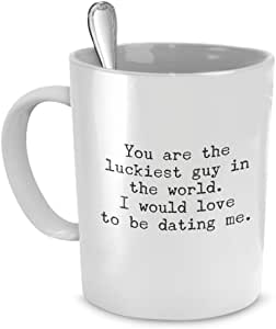 SpreadPassion Funny Mug for Boyfriend, You Are the Luckiest Guy in World, Sarcastic Coffee Mugs for Men