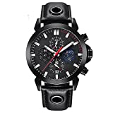 Mens Watches BENYAR Fashion Business Quartz Waterproof Watch-Leather Watch Date Display (red,Black)