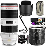 Canon EF 70-200mm f/2.8L IS II USM Telephoto Zoom Lens for Canon SLR Cameras, Polaroid Canon EOS Macro Extension Tube Set, Polaroid Filter Kit, Monopod, Lens Cap, Cap Keper and Accessory Bundle
