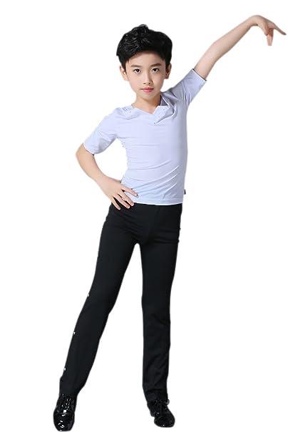 eb1c9d56b KINDOYO Niños Mangas Largas Manga Corta Latín Baile Camisa Actuación  Clásico Ropa Escénica Disfraces Moda Bailando Jazz Trajes  Amazon.es  Ropa  y accesorios