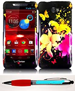 Accessory Factory(TM) Bundle (the item, 2in1 Stylus Point Pen) For Motorola Droid RAZR M XT907 Rubberized Design Cover Case - Heavenly Flowers