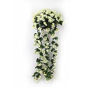 Meiliy Silk Artificial Hanging Violet Flower Bush for Wedding Home Party Garden Decor 43