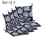 Comfort Classics Inc. Set of 4 Indoor/Outdoor Dining Chair Cushion 20'' x 36'' x 3.5'' in Polyester Blue Floral