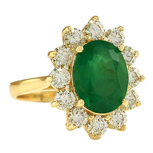 4.75 Carat Natural Emerald And Diamond Ring In 14K Yellow Gold