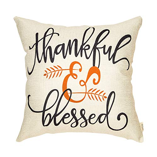 Fjfz Rustic Autumn Fall Décor Thankful and Blessed Farmhouse Style Thanksgiving Day Decoration Cotton Linen Home Decorative Throw Pillow Case Cushion Cover with Words for Sofa Couch, 18