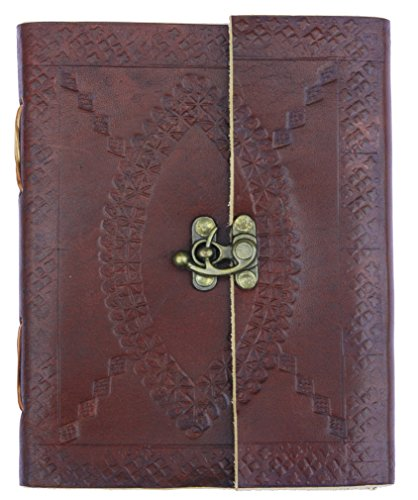 Special introductory offer in support of a social cause – Handmade Brown Embossed Leather Journal, Recipe Book, Travel Diary, Notepad, Scribble, Unlin…