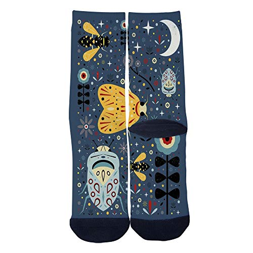 (Men's Women's Custom Crew Socks Midnight insect wallpaper Socks Colorful Patterned Comfortable Socks)