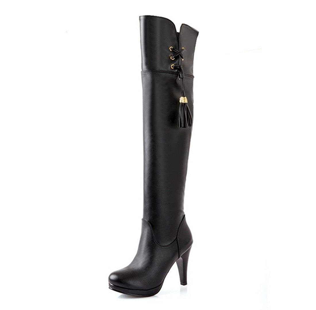 DLHH Lady's Women Toe Fashion Round Toe Women Stiletto Heel High Heel Leather Above The Knee High Boots for Party Dress B00SMZ5078 Boots a5eb0e
