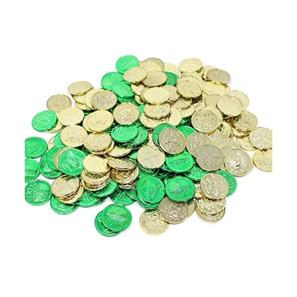 joyin 208 st patricks day lucky leprechaun plastic coins and 1 large green cauldron with handle saint patricks pot of gold party supplies