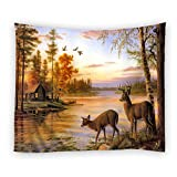 Moslion Wall Tapestry, Animals Deers River Forest One Side Home Decor Tapestry, Polyester Fabric Tapestries Wall Art Hanging 51 X 60 Inches