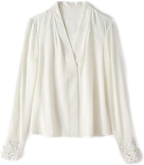 XCXDX Camisa Blanca De Seda con Cuello De Pico para Mujer, Top Básico En Color Liso, Blusa De Señora De Oficina: Amazon.es: Deportes y aire libre