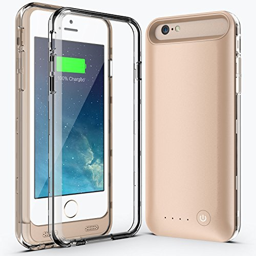 Niubity [Apple Mfi Certified] Iphone 6/6s 4.7 Battery Case171% Extra Battery li-Polymer External Removable Rechargeable Protective Charging Case[3100mah]Fully Charge Within 2 Hours[Power Bank](gold)