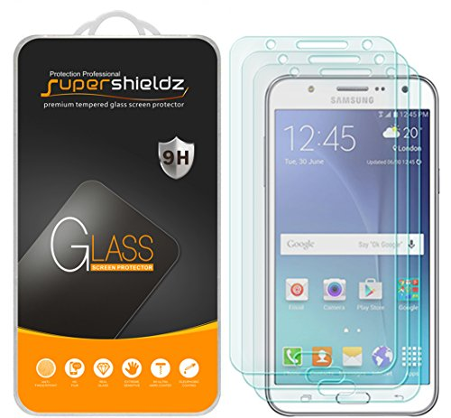 [3-Pack] Supershieldz for Samsung Galaxy J7 (Boost Mobile & Virgin Mobile) J700P/J700M Tempered Glass Screen Protector, Anti-Scratch, Anti-Fingerprint, Bubble Free, Lifetime Replacement