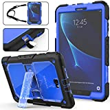 SEYMAC Stock Galaxy Tab A 10.1 T580/T585 Case (NOT for Other 10.1 Tablet), Full-Body [Heavy Duty]& Shockproof Hybrid Armor Protection with Stand & Portable Strap for Samsung Tab A 10.1 -(Blue+Black)