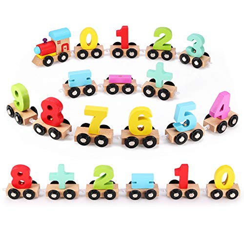 Wooden Number Train Set 31 PCS(14 Linking Cars, Great Gift for Girls and Boys - Best for 3, 4, 5 Year Olds and Up) Compatible for Wooden Tracks from All Major Brands-Preschool Toddler Educational Toy (Educational Train)