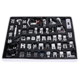 WElinks 52pcs Professional Sewing Machine Presser Feet Set, Sewing Supplies Accessories Tool, Multifunction Domestic Presser Foot Space Parts Accessories for Brother, Babylock, Singer, Janome, Kenmore
