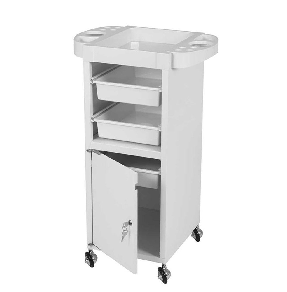 Salon Hairdressing Trolley Storage Tray Cart Coloring Beauty Hair Dryer Holder Stylist Equipment with Lockable Door,Rolling Wheels, Drawer, white