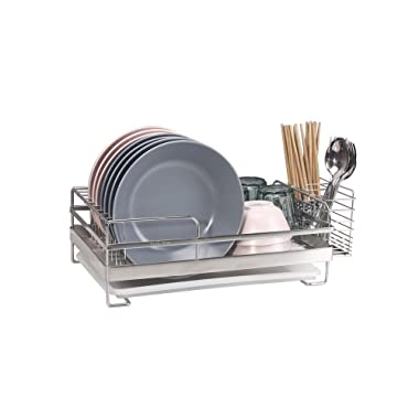 Compact Kitchen Dish Drainer Rack for Drying Glasses, Silverware, Bowls, Plates, Chopstick
