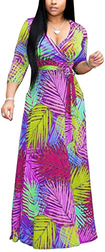 Tropical Flower Dress - sexycherry Casual Short Sleeve Long Maxi Dresses for Women Sexy V Neck Colorful Flower Floor Length Stretchy Clubwear Comfy Flowy Outfits with Waistband