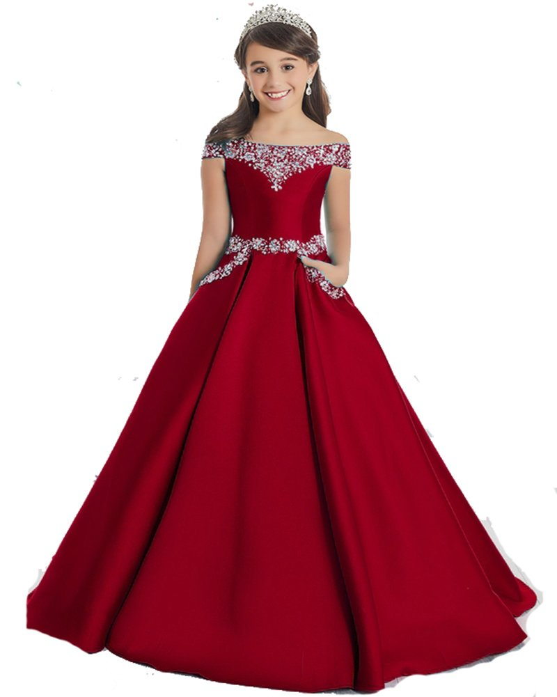GreenBloom Off The Shoulder A Line Pageant Dresses With Beaded Corset Pockets Formal Dresses 14 Dark Red