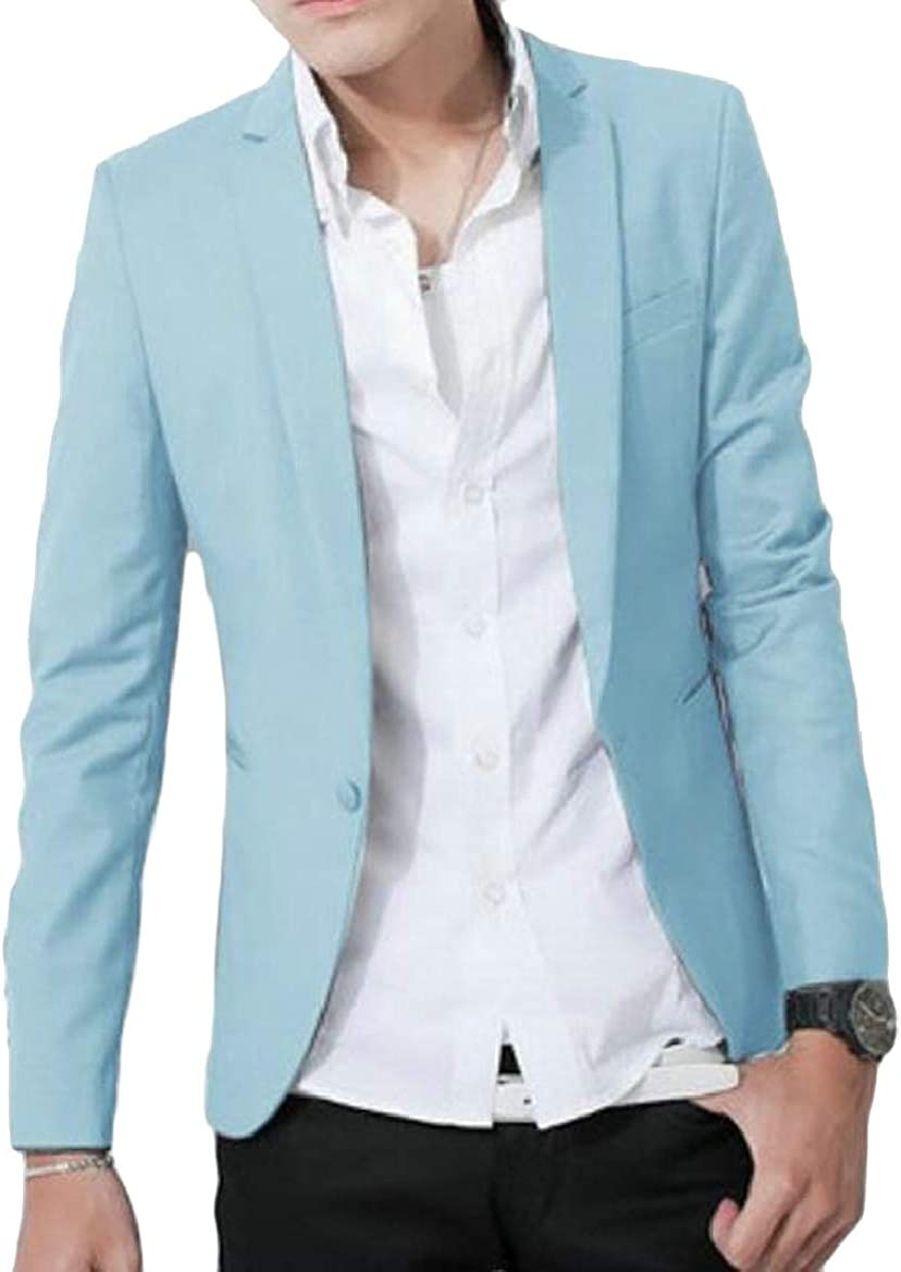 pujingge Mens Long Sleeve Solid Color Slim Fit One-Button Suit Blazer Jackets